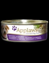 Applaws Chicken Breast & Vegetables - Високо качествена консерва за кучета с месни хапки с пилешко филе и зеленчуци в сос - 156 гр.