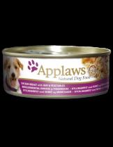 Applaws Chicken Breast with Ham & Vegetables - Високо качествена консерва за кучета с месни хапки с пилешко филе, шунка и зеленчуци в сос - 156 гр.
