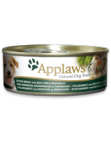 Applaws Chicken Breast with Beef Liver & Vegetables - Високо качествена консерва за кучета с месни хапки с пилешко филе, говежди черен дроб и зеленчуци в сос - 156 гр.