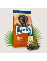HAPPY DOG Sensible Nutrition Toscana - Сюприйм Тоскана - за чувствителни и алергични кучета над 1 година с патешко, сьомга и билки и само 6,5% мазнини - 12,5 кг.