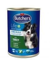 Butchers Life with turkey and rice chunks in jelly -високо качествена храна за кучета над 6 месеца с пуешко месо в желе - 0.400 кг.