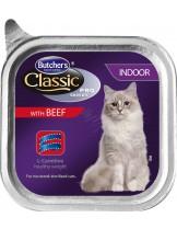 Butchers Classic Pro Series Indoor with beef pate - високо качествен пастет за котки отглеждани на закрито - с говеждо месо - 0.100 кг.
