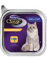 Butchers Classic Pro Series Skin & Coat with chicken pate - високо качествен пастет за котки за здрава кожа и красива козина - с пилешко месо - 0.100 кг.