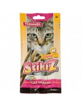 Flamingo Stikiz - лакомство за котки пръчици с пуйка, + витамини A, D, E, - 3 бр. в опаковка