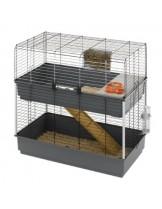 Ferplast -CAGE RABBIT 100 DOUBLE BLACK - оборудвана двуетажна клетка за зайци  с размери - 99х51,5х97,5 см