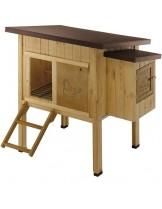 Ferplast - HEN HOUSE 10 - компактна дървена клетка за кокошки - 124х98х110 см.