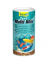 Tetra Pond MultiMix - Пълноценна храна - микс от пелети, гамарос илюспи за езерни риби - 1000 мл.
