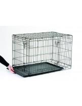 Savic Метална клетка Dog cottage 91 - с врата отгоре и отпред, черна пластмасова тава - 91х57х62 см.