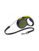 Flexi Design Dots S - автоматичен повод на точки в атрактивни цветове с 5 метра въже за кучета до 12 кг. - жълт