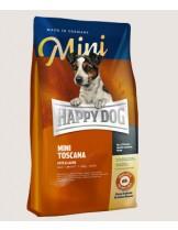 HAPPY DOG Sensible Nutrition Toscana MINI- суха храна за чувствителни и алергични кучета от малките породи Сюприйм Тоскана с патешко, сьомга и билки и само 6,5% мазнини - 4 кг.