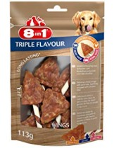 8in1 TRIPLE FLAVOUR MIX - XS - неустоим лакомство - крилца за куче с различни вкусове - говеждо, пилешко и свинско месо - 113 гр.