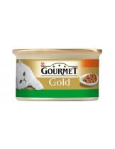 Gourmet Gold  - консерва за котки над 1 година - заек и моркови - хапки в сос - 85 гр.