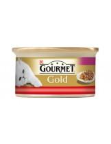 Gourmet Gold - консерва за котки над 1 година двойно удоволствие - говеждо и пиле - 85 гр.