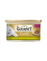 Gourmet Gold- консерва за котки над 1 година двойно удоволствие - заек и дроб - 85 гр.