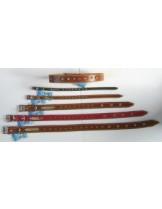 """Миазоо Нашийник """"Лидер"""" от естествена кожа с метални конуси - 2.5 мм. - 70 см. - цветове - натурален, черен или червен"""