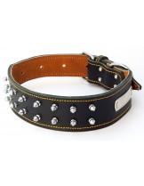 Миазоо - кожен нашийник за куче - Корсар - с двоен ред метални конуси 5-70 см. - натурален, черен или кафяв