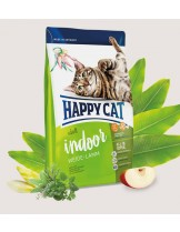 HAPPY CAT - Indoor Weide-Lamm (Meadow Lamb) - за неактивни котки живеещи на закрито над 1 година с агнешко и добавено пилешко и ябалки - 1.4 кг.