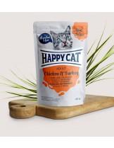 Happy Cat Meat in Sauce Adult Chicken & Turkey - неустоим пауч за израстнали котки с пиле и пуйка - 85 гр.