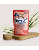 Happy Cat All Meat Adult Beef & Heart - неустоим пауч за израстнали котки с говеждо месо сърца - 85 гр.