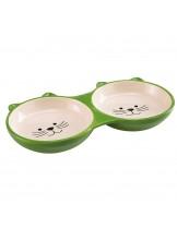 Ferplast - IZAR BOWL - зелена двойна, порцеланова купа за котки - 0,230 l.