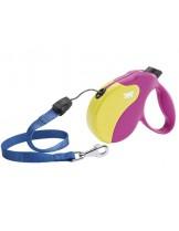 Ferplast - AMIGO M CORD COL.FUCSIA-YELLOW - автоматичен повод за кучета въже - 5 м./ до 25 кг.