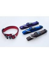 Миазоо - Нашийник изкуствена лента Ексклузив - 20 мм. - 40 - 55 см. - (черно/синьо, черно/червено, черно/лилаво или черно/кафяво)
