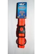 Миазоо - Нашийници Спорт + в ярко оранжево със светлоотразителни нишки + заключващ механизъм -  20 мм. - 40 - 55 см.