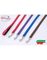 Миазоо - Повод изкуствена лента Ексклузив - 10 мм. - 120 см. - (черно/синьо, черно/червено, черно/лилаво или черно/кафяво)