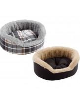 Ferplast Dandy Mini - меко легло с дюшече от памучен плат и плюш за малки домашни любимци - (тъмно кафяво, каре) - 34 x 28 x h 12,5 см.