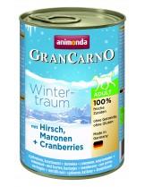Gran Carno Winter traum Adult - Hirsh Maronen + Cranberries - Високо качествени консерва за кучета над 1 година От Animonda Германия с патешко месо и ябълки - 0.400 кг.