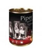 Piper Junior - Премиум консервирана храна за малки кученца до 1 година с телешки сърца и моркови - 400 гр.