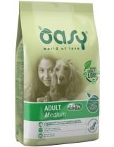 Oasy Adult Medium - високо качествена суха храна, подходяща за кучета от средните породи над 1 година с над 20% пилешко месо - 12 кг.
