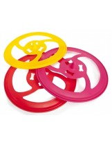 Camon - Играчка за куче - Пластмасово цветно фризби - 25 см. - червено.розово и жълто