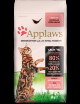 Applaws Adult Chicken with Extra Salmon - пълноценна храна за израстнали котки над 12 месечна възраст с пилешко месо и сьомга - 2 кг.