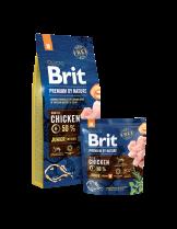 Brit Premium by Nature Junior M - Complete Chicken Formula - суха, гранулирана храна за кученца от средните породи (10-25 кг) от 2 до 12 месеца с пилешко месо - 3 кг.