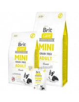Brit Care Mini Grain Free Adult - ипоалергенна суха храна. БЕЗ зърнени култури, БЕЗ соя, БЕЗ ГМО за кучета над 10 месеца с агнешко месо - 7 кг.