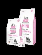 Brit Care Mini Grain Free Yorkshire - Хипоалергенна храна  БЕЗ зърнени култури за кучета от порода Йоркшир или други с дълга козина над 10 месеца със сьомга и риба тон - 2 кг.