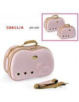 Camon - Текстилна, луксозна, полутвърда чанта SEMIRIGIDO за домашни любимци - 50х26х34 см. - розова