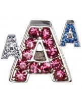 """Camon - Декоративна буква  """"А"""" - с брилянти за поводи и нашийници - 2 см. - бяло, розово, синьо"""
