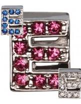 "Camon - Декоративна буква  ""Е"" - с брилянти за поводи и нашийници - 2 см. - бяло, розово, синьо"