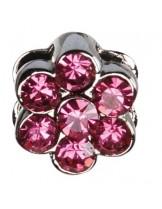Camon - Декоративна форма- цвете с брилянти за поводи и нашийници - 2 см. - розова, синя