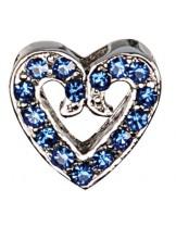 Camon - Декоративна форма- сърце с брилянти за поводи и нашийници - 2 см. - бяло, синьо