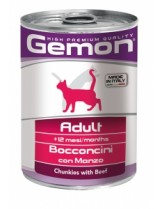 Monge Gemon Chunkies with Beef - Високо качествена консерва за котки над 12 месеца с говеждо месо - 0.415 кг.
