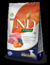 N&D GF - PUMPKIN LAMB & BLUEBERRY  PUPPY MINI - Пълноценна храна за подрастващи кученца и бременни или кърмещи кучета от дребни породи с агнешко, тиква и боровинки - 2.5 кг