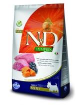 N&D GF - PUMPKIN LAMB&BLUEBERRY, ADULT MINI -  Пълноценна храна за кучета от дребни породи в зряла възраст с агнешко, тиква и боровинки - 7 кг.