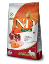N&D GF - PUMPKIN CHICKEN &POMEGRANATE, ADULT ADULT MINI - Пълноценна храна за кучета от дребни породи в зряла възраст с пиле, тиква и нар - 2.5 кг.