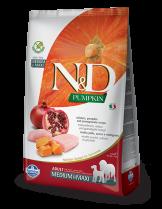 N&D GF - PUMPKIN CHICKEN &POMEGRANATE ADULT MEDIUM&MAXI - Пълноценна храна за кучета от средни и едри породи в зряла възраст с пиле, тиква и нар - 12 кг.