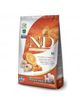 N&D GF - PUMPKIN CODFISH&ORANGE, ADULT MEDIUM&MAXI -  Пълноценна храна за кучета от средни и едри породи в зряла възраст с риба треска, тиква и портокал - 12 кг.
