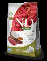 N&D - QUINOA SKIN&COAT DUCK, COCONUT- Пълноценна храна за кучета в зряла възрастпри чувствителен стомах, спатешко месо, киноа, кокос и куркума - 7 кг.