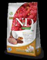 N&D - QUINOA SKIN&COAT QUAIL, COCONUT - пълноценна храна с киноа за кучета в зряла възраст над 1г. за всички породи при чувствителен стомах, здрава кожа и козина с пъдпъдък, кокос и куркума - 0.8 кг.
